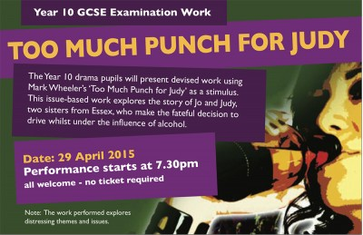 too much punch for judy 'too much punch for judy' is an award-winning drink drive documentary drama from ape theatre company the company performs preventative, hard-hitting documentary.